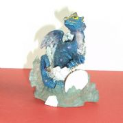 10cm BLUE DRAGON IN EGG ON CRYSTAL BASE
